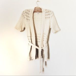 Loft Ivory Crochet Elbow Sleeve Cardigan w/Belt